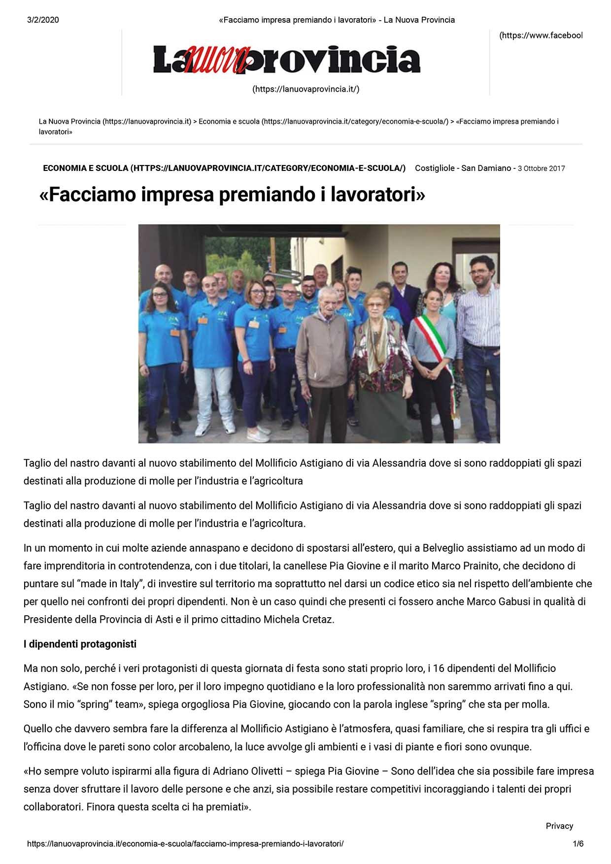 La Nuova Provincia 2017-Inaugurazione-Mollificio-Astigiano-Belveglio