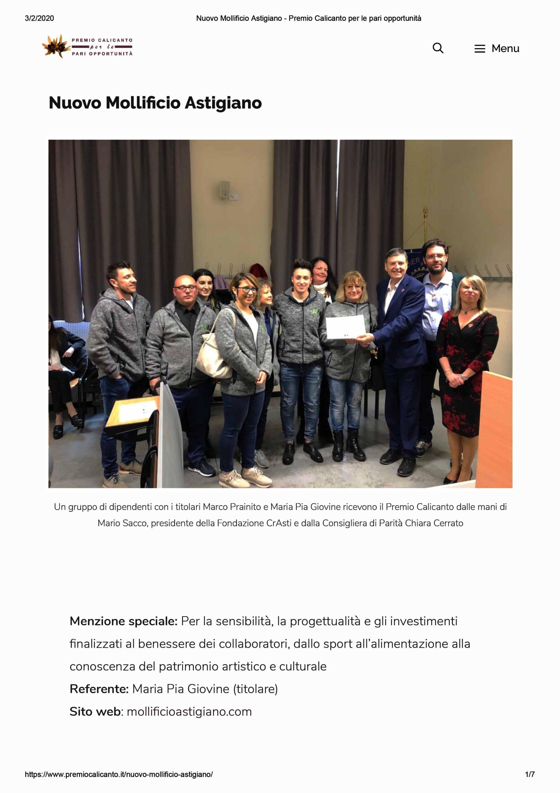 Premio-Calicanto-per-le-pari-opportunità-maggio-2019-Mollificio-Astigiano-Asti