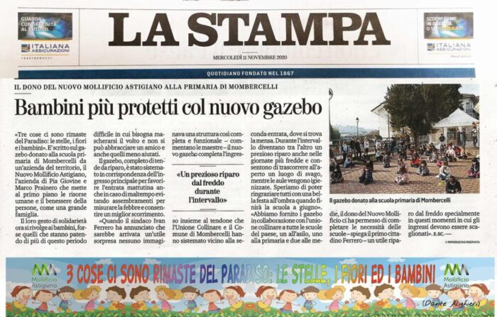 LA-STAMPA-GAZEBO-DONAZIONE SCUOLE-MOLLIFICIO-ASTIGIANO